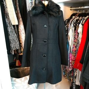 Xhiliration Faux Fur Pea Coat Wool/Polyester